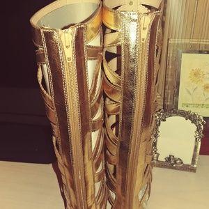 Womens flat sandals poppy gold sz 7